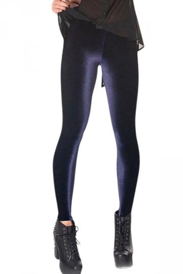 Navy Blue Slimming Ladies High Waist Pure Velvet Leggings - PINK QUEEN