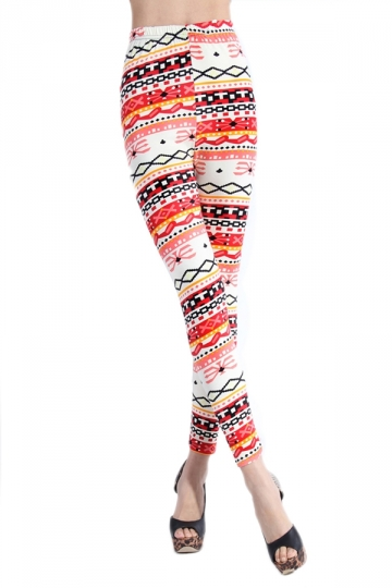 Red Ladies Fashion Stripes Tribal Printed Modest Leggings