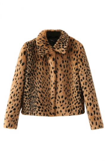 Coffee Ladies Wool Leopard Long Sleeves Warm Classic Coat