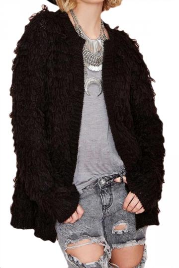Black Elegant Womens Batwing Sleeve Cardigan Plain Sweater Coat