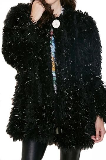 Black Modern Ladies Long Sleeve Plain Faux Fur Coat