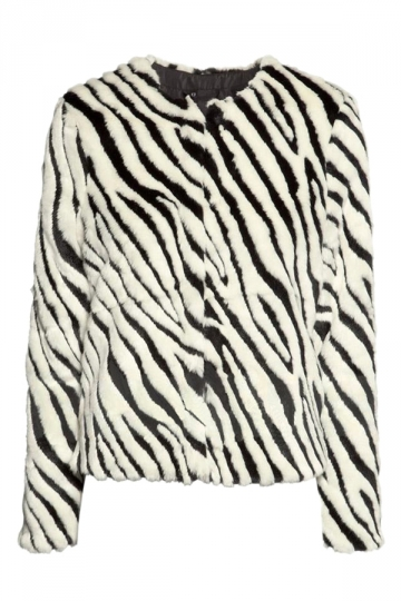 Black and White Cool Womens Zebra Stripe Pattern Faux Fur Coat