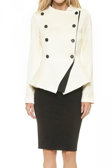 White Ladies Fitted Long Sleeves Peplum Pea Vintage Blazer