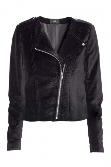 Black Ladies Classic Velvet Motorcycle Zipper Collarless Jacket