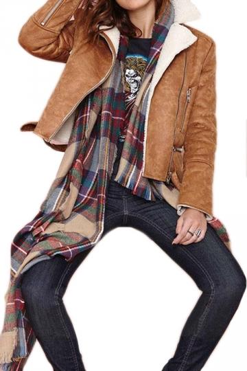 Brown Vintage Womens Lapel Warm Winter Suede Jacket