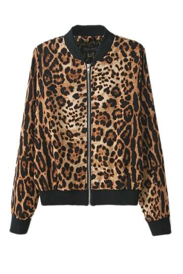 Coffee Womens Leopard Zipper Long Sleeves Classic Jacket