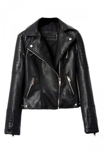 Black Womens Cool PU Leather Vintage Motorcycle Jacket