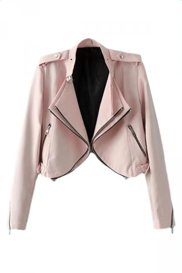 Pink Lapel Zipper Ladies Cute Motorcycle Cool Jacket