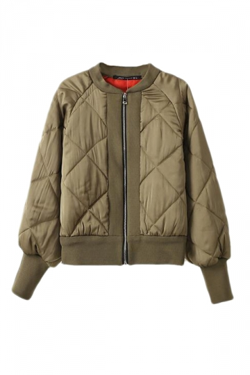Khaki Womens Zipper Cool Quilted Bomber Warm Jacket