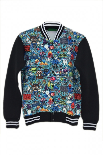 Blue Charming Ladies Animals Cartoon Printed Jacket