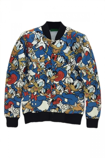 Blue Charming Ladies Donald Duck Cartoon Printed Jacket