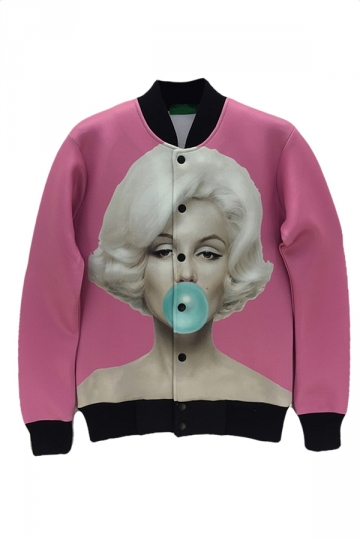 Pink Womens Sexy Marilyn Monroe Printed Jacket