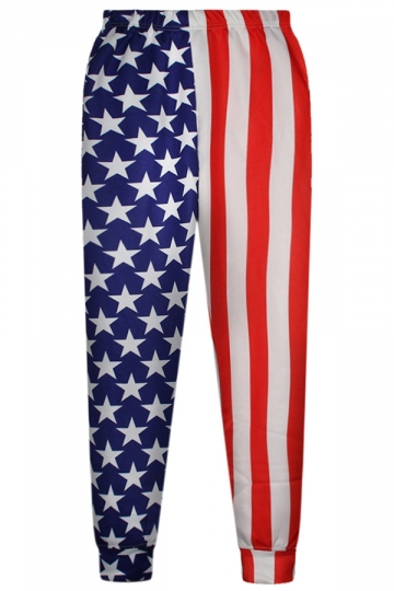 Red Ladies Classic American Flag Printed 3D Leisure Pants