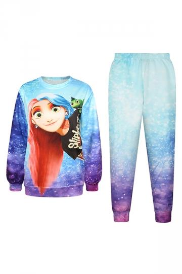 Blue Sexy Ladies 3D Frozen Anna Printed Pullover Sweatshirt Suit