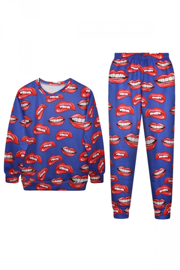 Blue Sexy Ladies Red Mouth Lip 3D Printed Pullover Sweatshirt Suit
