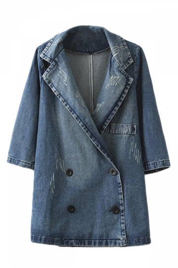 Blue Womens Vintage Lapel Denim Trench Loose Pea Coat