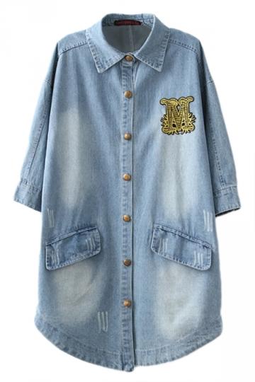 Blue Ladies Casual Denim Long Fashion Lapel Trench Coat