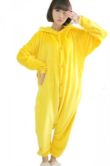 Yellow Cute Womens Pajamas Flannel Pikachu Halloween Jumpsuit Costume