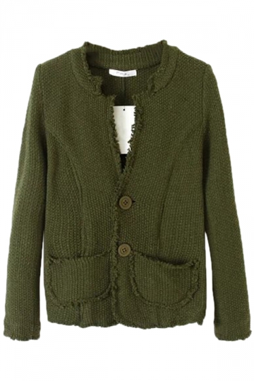 Green Stylish Womens Fringed Long Sleeve Cardigan Sweater Coat