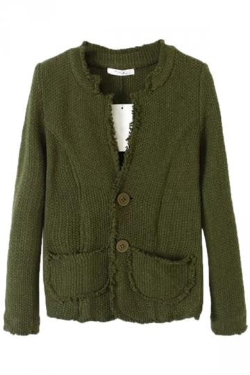 Green Stylish Womens Fringed Long Sleeve Cardigan Sweater Coat
