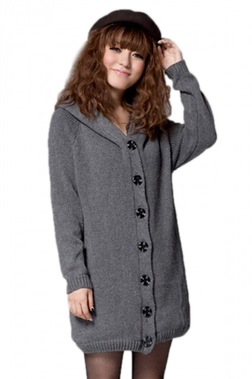 Gray Modern Ladies Lined Long Sleeve Cardigan Sweater Coat - PINK