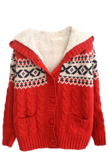 Red Sexy Ladies Pattern Hooded Cardigan Christmas Sweater - PINK QUEEN