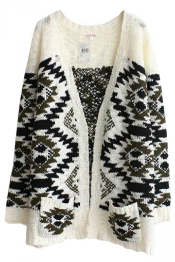 Green Chic Womens Folk Style Oversized Cardigan Sweater
