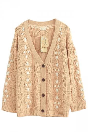 Beige Pretty Ladies Smaller Ditsy Floral Cardigan Sweater Coat