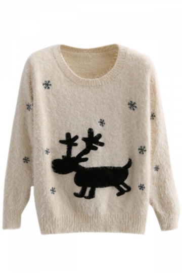 Beige Elegant Ladies Elk Pullover Christmas Sweater