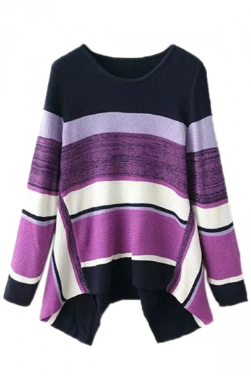 Purple Sexy Ladies Color Block Stripe Oversized Pullover Sweater