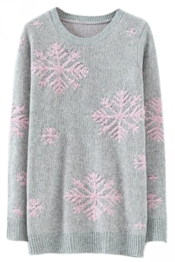 Gray Stylish Womens Snowflake Pullover Christmas Sweater - PINK QUEEN