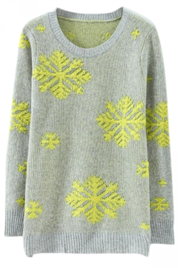 Yellow Stylish Womens Snowflake Pullover Christmas Sweater