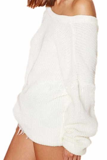 White Ladies Plain Off The Shoulder Back V Neck Pullover Sweater ...