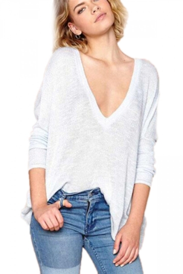 Gray Oversized Loose Womens Vintage Deep V Neck Pullover Sweater ...