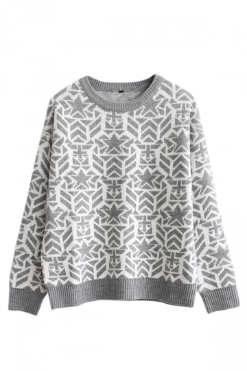 Gray Chic Womens Christmas Pullover Crew Neck Snowflake Sweater
