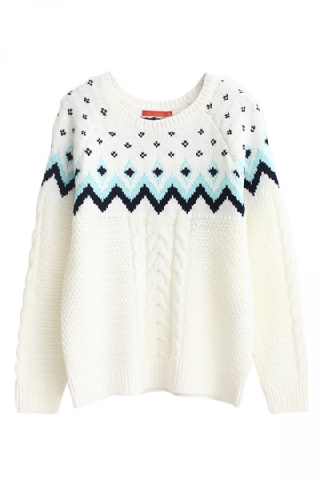 White Pullover Classic Cable Knit Ladies Christmas Sweater