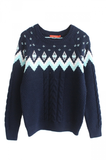 Navy Blue Pullover Classic Cable Knit Ladies Christmas Sweater ...