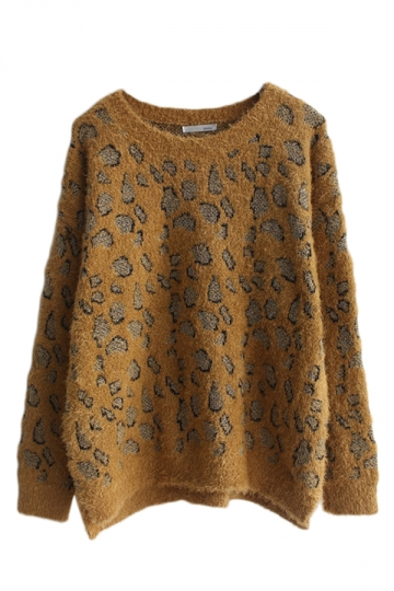Yellow Vintage Leopard Patterned Crew Neck Pullover Womens Sweater