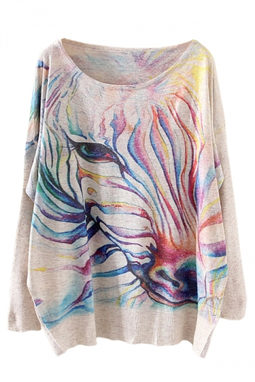 Beige Chic Womens Colorful Zebra Pattern Oversized Pullover Sweater