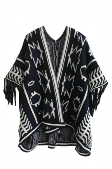 Black Sexy Ladies Batwing Sleeve Fringe Oversized Cardigan Sweater