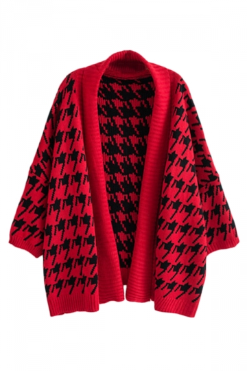 Red Chic Womens Swallow Gird Patterned Oversized Cardigan Sweater