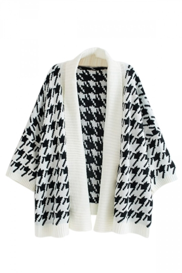 White Chic Womens Swallow Gird Patterned Oversized Cardigan Sweater