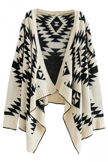 Beige Pretty Womens Pop Art Patterned Cardigan Sweater