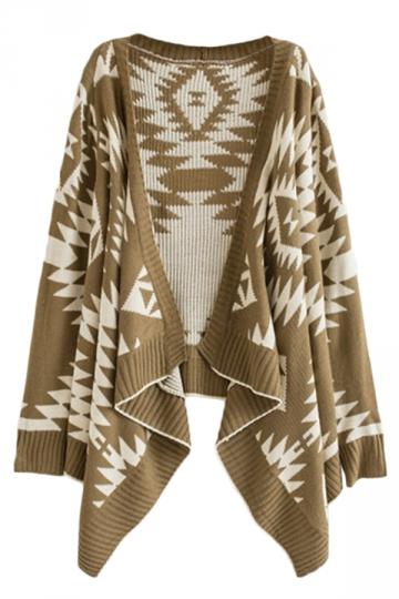 Khaki Pretty Womens Pop Art Patterned Cardigan Sweater - PINK QUEEN
