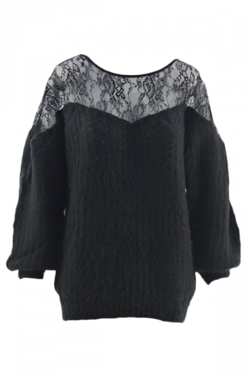 Black Chic Womens Lace Patchwork Crew Neck Plain Pullover Sweater ...