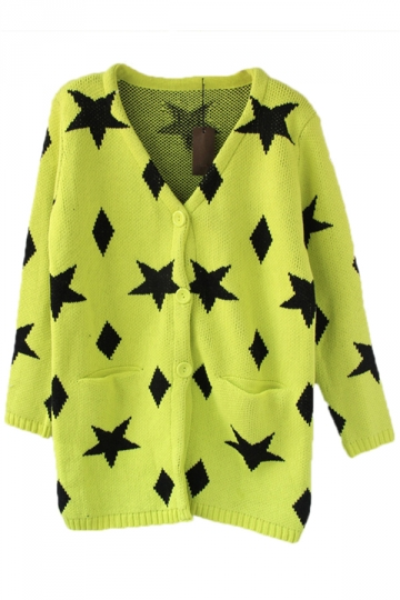 Yellow Womens Stars Patterned Vintage Cardigan Sweater