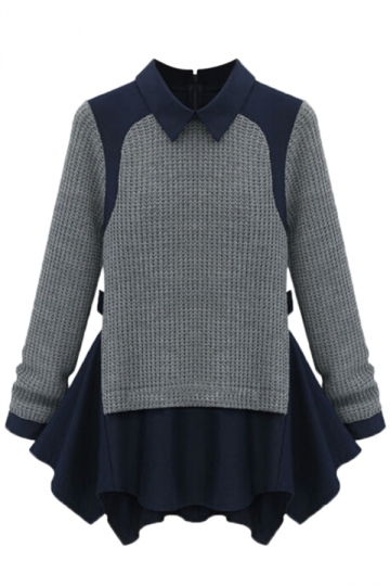 Navy Blue Ladies False Two-piece Ruffle Patterned Pullover Sweater