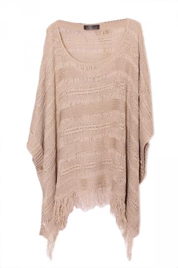 Khaki Fashion Womens Batwing Sleeve Fringe Oversized Pullover Sweater