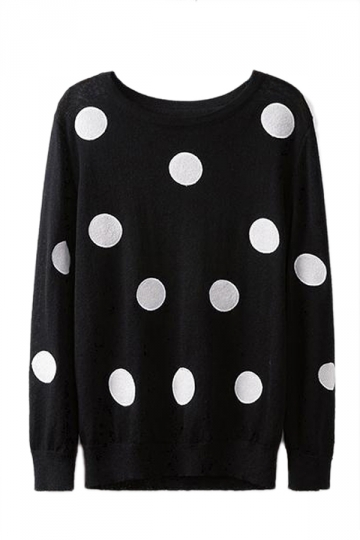 Black Ladies Cute Polka Dot Pattern Crew Neck Pullover Sweater
