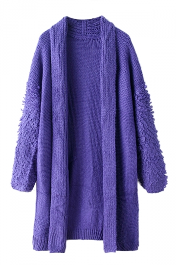 Blue Stylish Ladies Long Sleeve Warm Pure Cardigan Sweater Coat